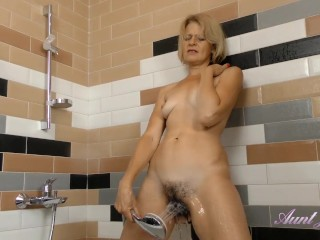 AuntJudys .. Mature Full-Bush Auntie Diana Masturbates in the Shower