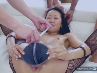 Asian slut Saya slurps the cum out her Pussy w/ a Straw!