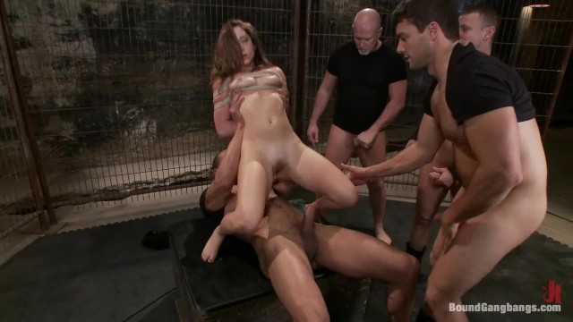 gangbang Remy LaCroix 4men on 1 girl in cage